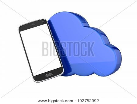 Concept Of Cloud Storage Smartphone With Cloud Storage App On White Background 3D Without Shadow