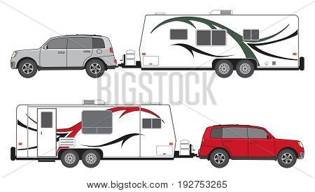 SUV is pulling a camp trailer in two different color schemes