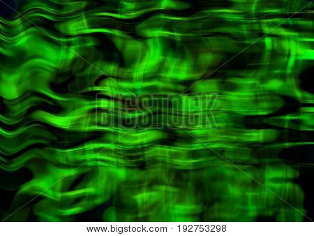 Bright background of intersecting satin green wavy stripes and lines