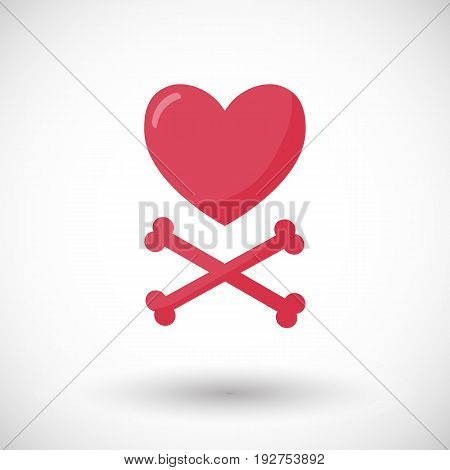Heart and crossbones vector flat icon flat design of love Valentine's day or broken heart object with round shadow isolated on the white background vector illustration