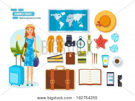 Summer travel concept. Travel, rest on the sea, objects necessary on a trip and brought from a place of rest. Modern vector illustration isolated on white background.