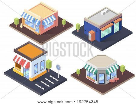 Isometric cafes, shop and supermarket with awnings.Flat vector illustration set.