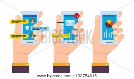 Set of smartphone in the hand with software: online chat and correspondence, e-mail, trading and online banking. Vector illustration, isolated on white background.