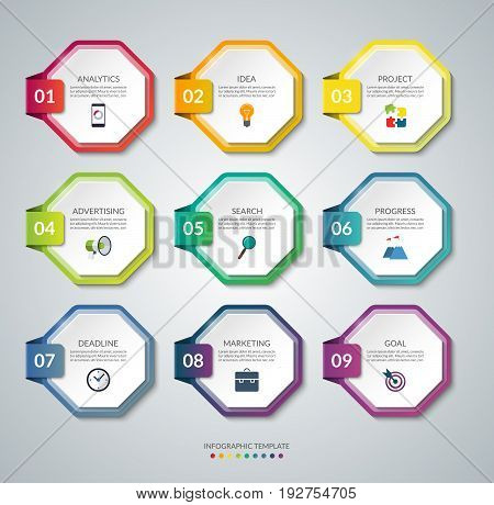 Set of 9 octagon elements for infographics. Colorful vector banners. Design templates that can be used for workflow layout, report, number and step options, web design.