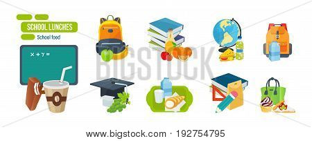 Set of school and university fast food. School lunch consisting of fruits, vegetables, sandwiches, drinks, milk products, sweets. Vector illustration isolated on white background.