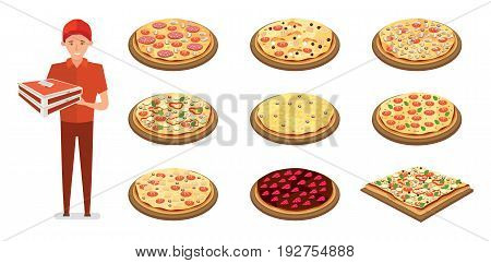Concept selection of pizza, delivery by courier. Different types of Italian pizza with different fillings, person delivering pizza. Vector illustration on white background, isolated in cartoon style.