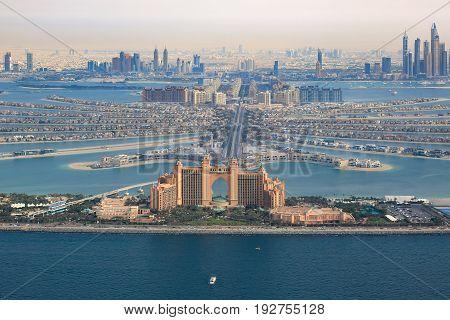 Dubai Atlantis Hotel The Palm Jumeirah Island Aerial View Photography