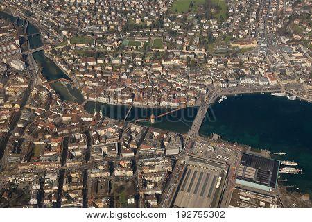 Switzerland Lucerne Chapel Bridge Luzern City Aerial View Photography