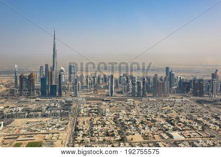 Dubai Skyline Burj Khalifa Aerial View Photography