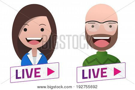 Live Stream sign with Man Woman Professor avatar set. Emblem logo badge. Flat design. Template for citybanner website design cover. White background. Illustration. Eps10.