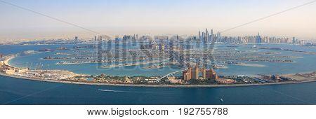 Dubai The Palm Jumeirah Island Atlantis Hotel Panorama Marina Aerial Panoramic View Photography
