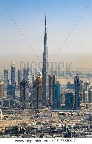 Dubai Burj Khalifa Building Downtown Vertical Portrait Aerial View Photography