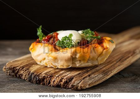 Pie In The Oriental Style. Filo Pastry With Tomato And Mozzarell