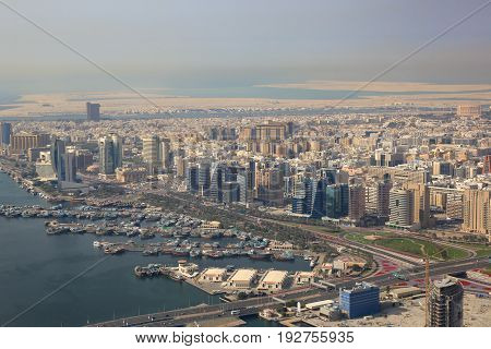 Dubai The Creek Dhow Dhows Aerial View Photography