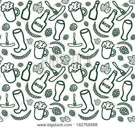 Seamless beer pattern with bottles cups glasses sausages hop cones and ears of wheat in sketch style. Vector background of simple beery doodles. EPS 10 ilustration.