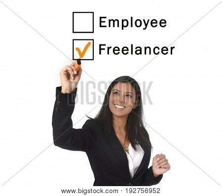 young attractive latin woman in office suit writing with marker on screen or board ticking boxes employee freelance isolated on white background in work job and business career concept