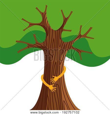 Tree Hug For Nature Love Concept Illustration
