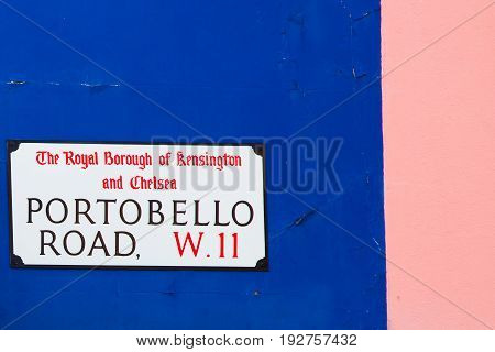 Portobello Road street sign. One of the most famous streets in Nothing Hill London.