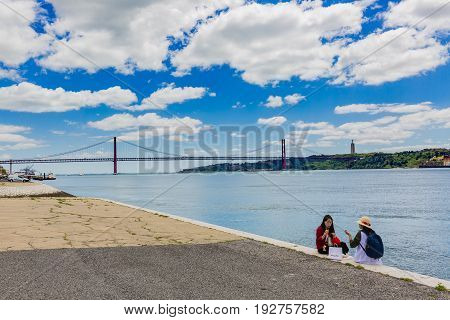 Lisbon, Portugal - May 18, 2017: On The Banks Of Tagus River In The Belem Neighborhood.