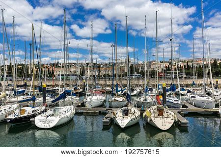 Lisbon, Portugal - May 18, 2017: Marina In The Belem Neighborhood On The River Tagus, Lisbon