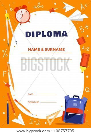 Diploma template for school or elementary school kids. Colorful school objects: backpack, dividers, mark, alarm clock, pencil. Vector illustration.