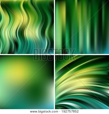 Abstract Vector Illustration Of Green Background With Blurred Light Lines. Set Of Four Square Backgr