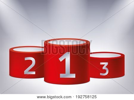 One, two, three. Awards on the illuminated podium, award red pedestals, vector design for you project