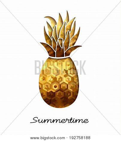 Summer time season tropical design gold pineapple illustration in paper cut style with luxury texture. EPS10 vector.