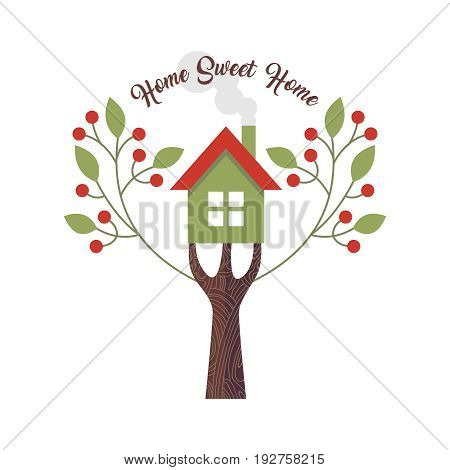 Home sweet home love quote design with concept illustration of house and tree. EPS10 vector.