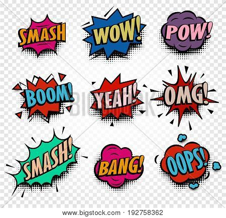 Isolated abstract colorful comics speech balloons icons collection on checkered background, dialogue boxes with popular expressions set, pop art dialog frames vector illustration