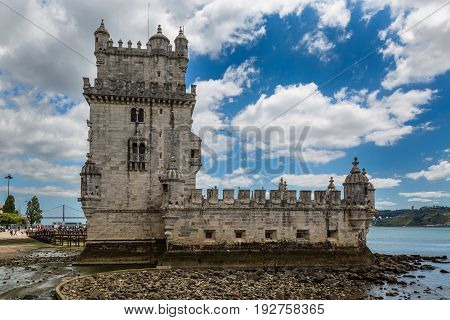Lisbon, Portugal - May 18, 2017: Historic Belem Tower On The Tagus River