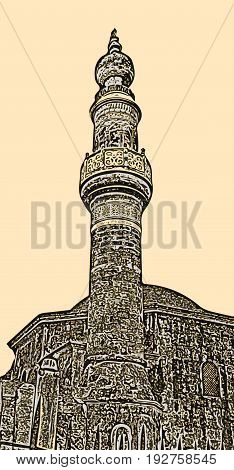 The minaret of the Murat Reis mosque in the cemetery of Rhodes, Greece (on the beige background)