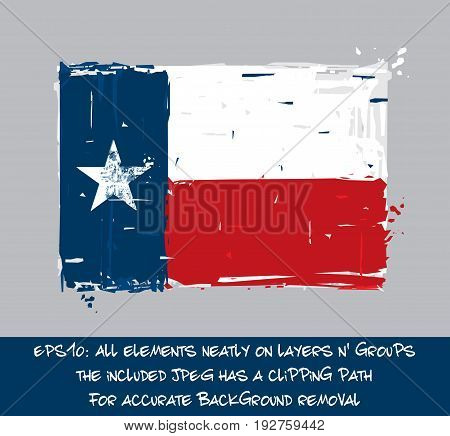 Texan Flat Flag - Vector Artistic Brush Strokes and Splashes. Grunge Illustration all elements neatly on layers and groups. The JPEG has a clipping path for accurate background removal