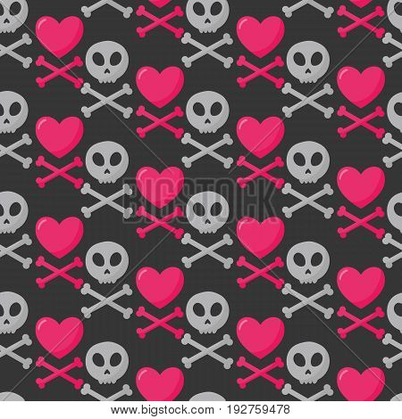 Skull heart and crossbones seamless pattern Flat design of danger or poison sign St Valentine day object Jolly Roger vector illustration