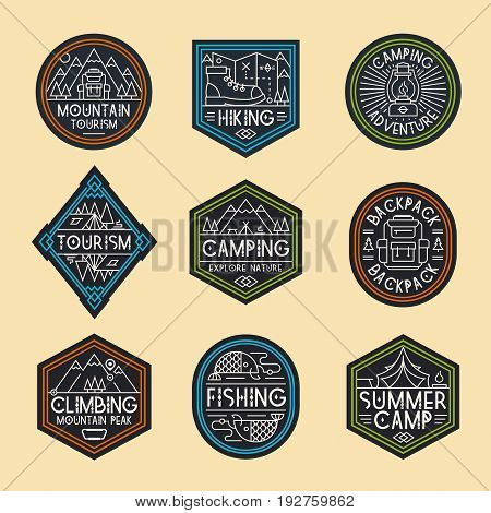 Camping logo set color style consisting of mountains, tent, fish, backpack, camp and trees for explore emblem, hiking sticker, climbing, tourist symbol, travel badge, expedition label, poster, banner