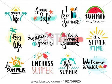 Summer Quote Set Typography Hand Drawn Decoration