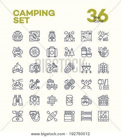 Camping and hiking icons set line style consisting of camp and travel equipment for expedition label, explore emblem, tourist symbol, travel badge, hiking sticker, climbing, poster, banner.