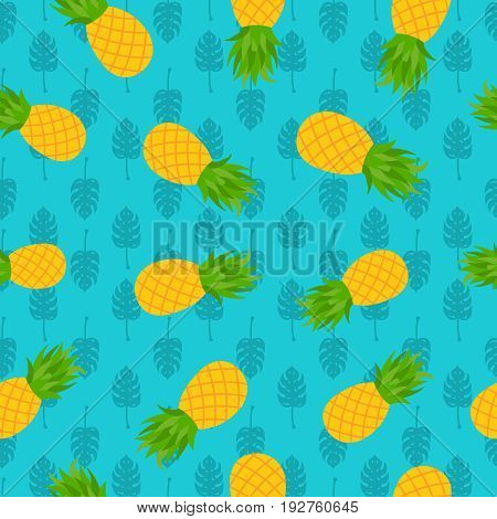 Pineapple Tropical Seamless Pattern For Summer