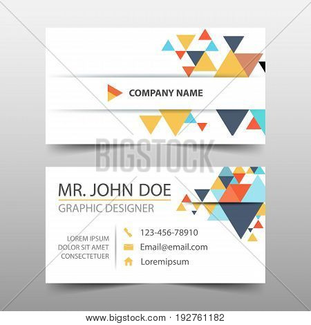 Colorful triangle corporate business card name card template horizontal simple clean layout design template Business banner template for website