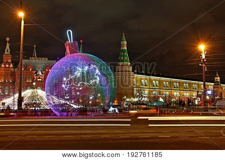 MOSCOW RUSSIA - August 2016: Christmas decoration in front Kremlin in Moscow Russia.