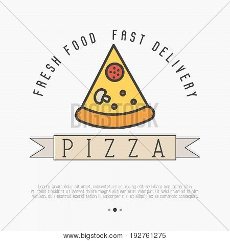 Pizza slice logo with thin line icon for menu design of restaurant or pizzeria. Vector illustration.