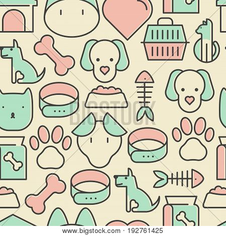 Seamless pattern and background with thin line icons related to pets and animals for pet shop websites and prints. Vector illustration.