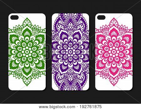Ornate phone case design set. Indian ethnic style smartphone cover pattern. Three colourful bright decals for mobile. EPS 10 vector hand-drawn vintage background.