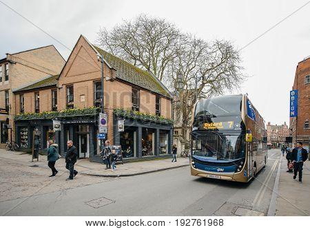 OXFORD UNITED KINGDOM - MAR 5 2017: George Street Social Pub and doube-decker bus on the 35 New Inn Hall St Oxford OX1 2DH UK