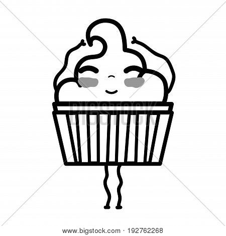 line kawaii cute happy muffin dessert vector illustration