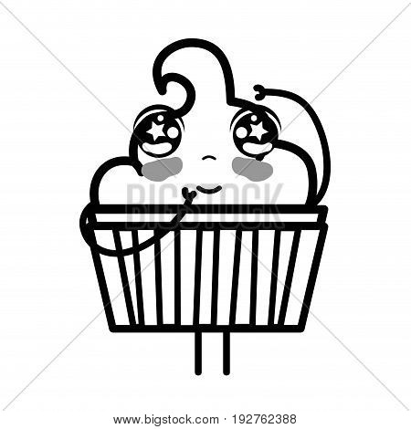 line kawaii cute tender muffin dessert vector illustration