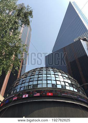 MEXICO CITY- MAY 16, 2017: Mexican Stock Exchange or Bolsa Mexicana de Valores in Paseo de la Reforma Mexico City
