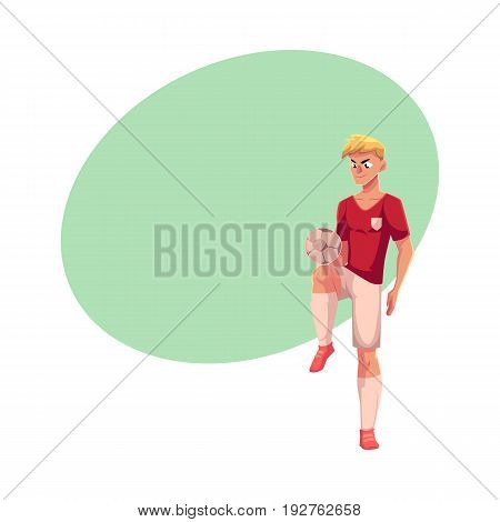Soccer, football player playing keepie-uppie, ball juggling, cartoon vector illustration with space for text. Professional soccer player juggling a football ball, kicking it up with knee