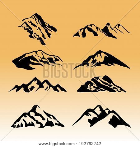 Mountain vector icons set. Set of mountain silhouette elements. Outdoor icon snow ice mountain tops, decorative symbols isolated. Camping mountain logo, travel labels, climbing or hiking badges vector Eps8,Eps8