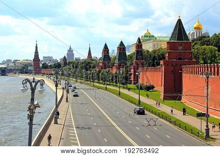 Moscow, Russia - August, 2016: Cityscape of Kremlin wall and river in Moscow Russia.